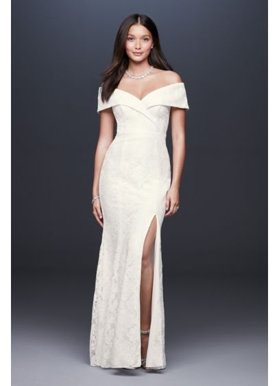 Cuffed Off-the-Shoulder Lace Sheath Gown with Slit - Sleek, simple, and waiting for your signature accessories,