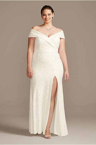 Cuffed Off-the-Shoulder Lace Plus Size Sheath Gown