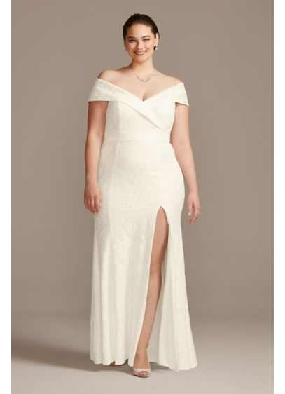 Cuffed Off-the-Shoulder Lace Plus Size Sheath Gown - Sleek, simple, and waiting for your signature accessories,