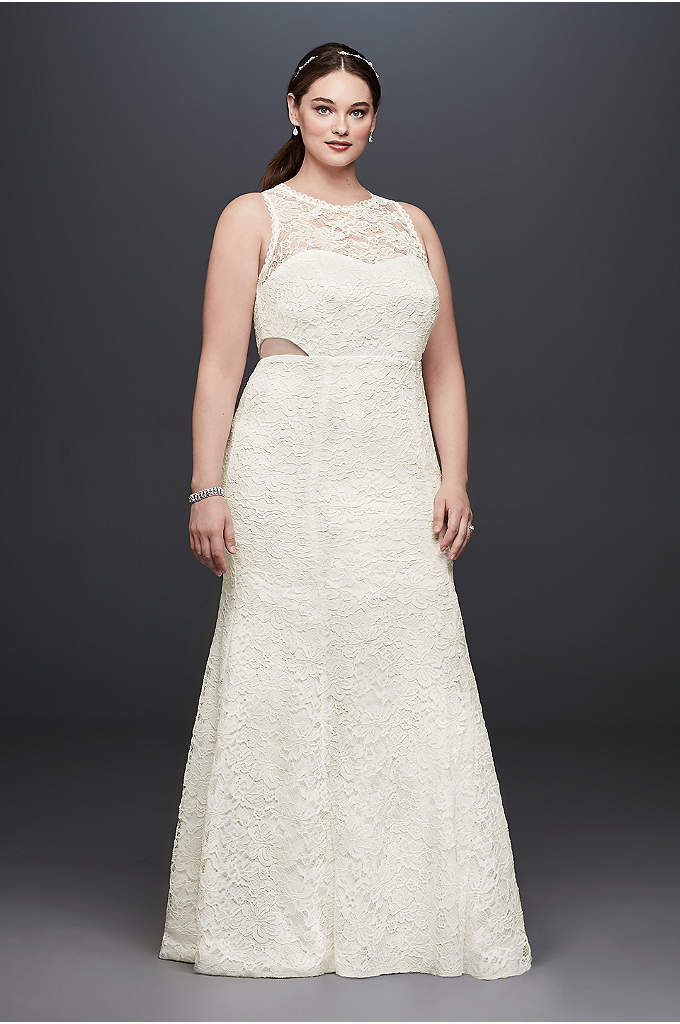 Illusion Corded Lace Trumpet Plus Size Dress - Illusion side cutouts and eyelash lace trim at