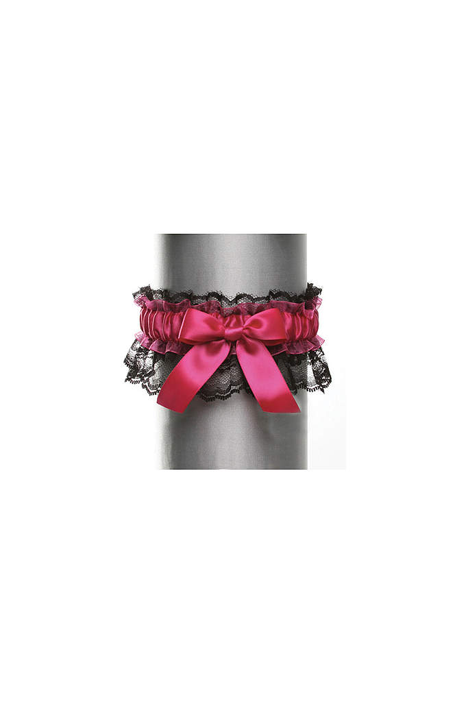 Black Lace with Satin Bow Garter