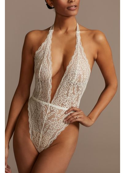 David's Bridal White (Sheer Lace Low Back Bodysuit with Ribbon Necktie)