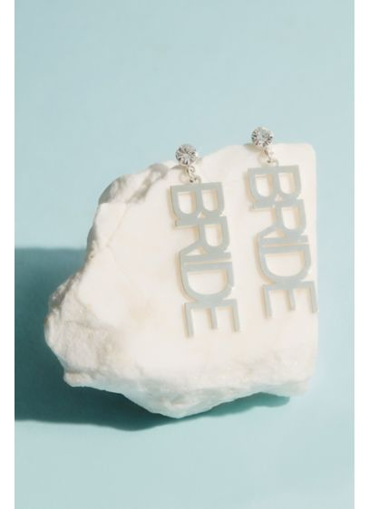 Crystal Bride Earrings - Spell out your status with these cute crystal