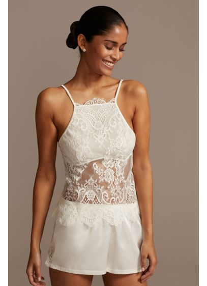 David's Bridal White (Sheer Lace Cami and Satin Short Set)