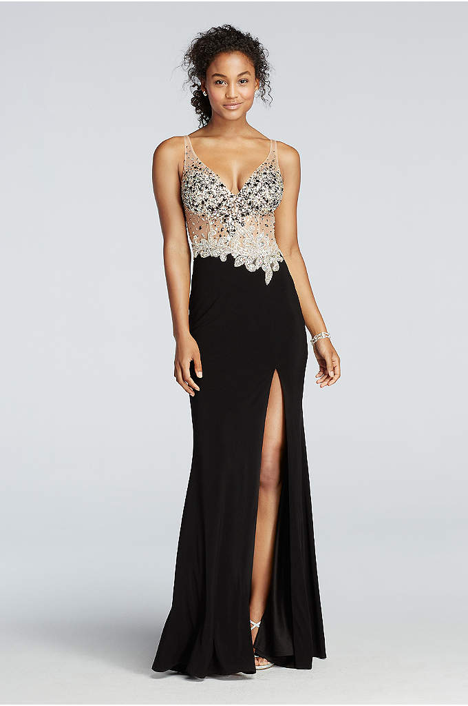 Crystal Beaded Illusion Bodice Prom Dress
