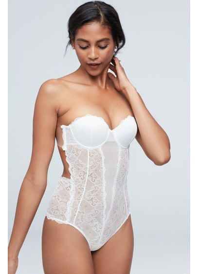 Fashion Forms White (Fashion Forms Lace Backless Strapless Bodysuit)