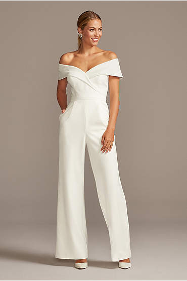Cuffed Off-the-Shoulder Stretch Crepe Jumpsuit