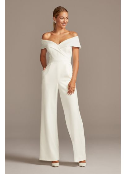 Cuffed Off-the-Shoulder Stretch Crepe Jumpsuit - This chic crepe jumpsuit is defined by crisp