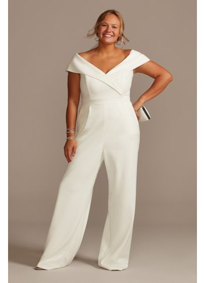 Off-the-Shoulder Crepe Wide-Leg Jumpsuit - This clean-lined crepe jumpsuit pairs a classic off-the-shoulder