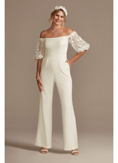 Off-the-Shoulder Floral Puff Sleeve Jumpsuit - You'll be in full bloom on your special