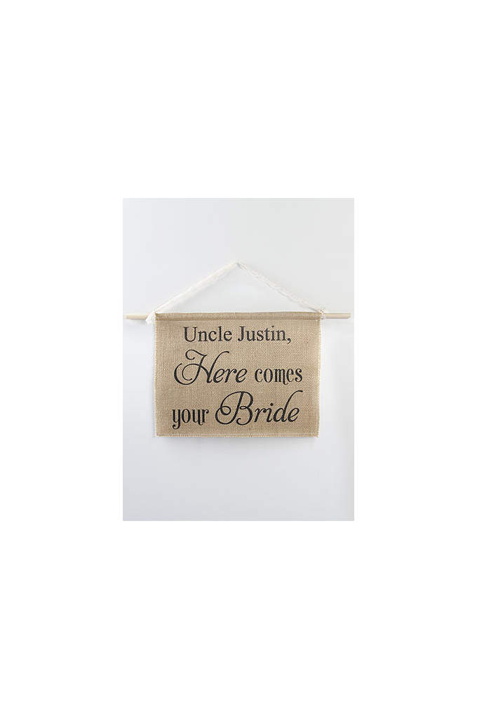 Personalized Burlap Here Comes Your Bride Sign - Announce the arrival of the bride with this