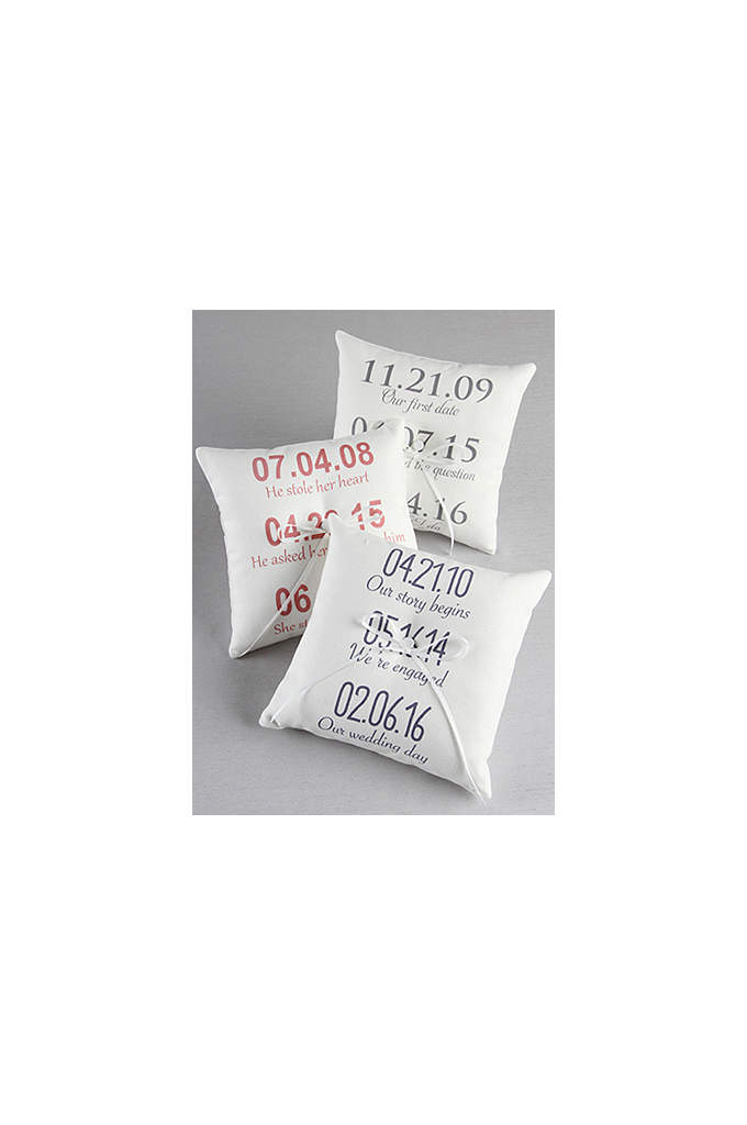 Personalized Milestone Canvas Ring Bearer Pillow - Incorporate the milestones of your relationship into your