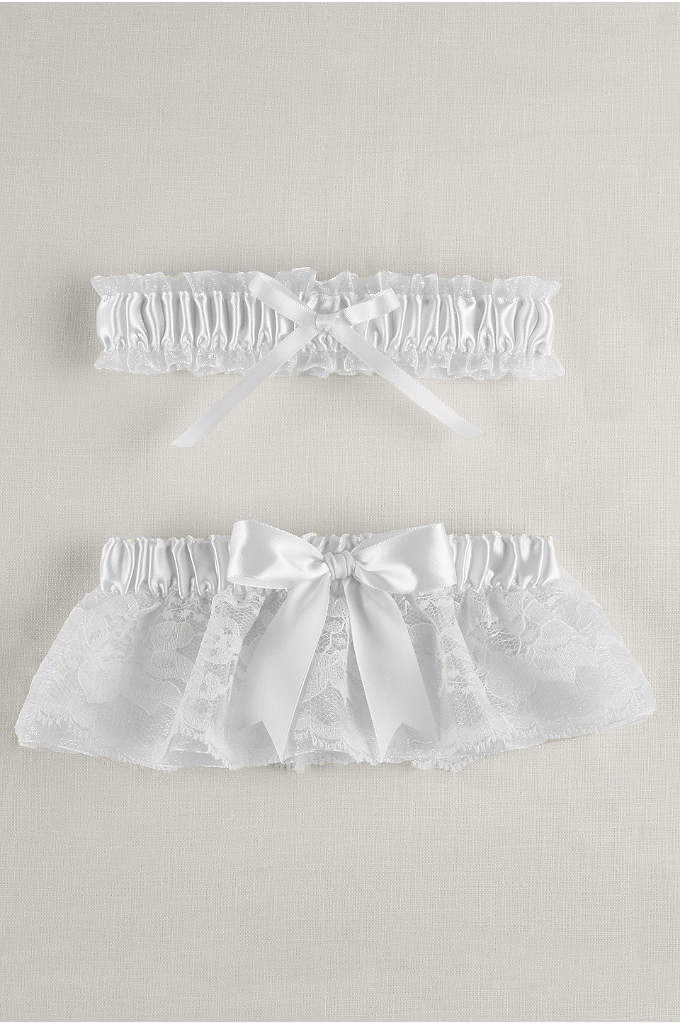 Layered Lace Organza Bridal Garter Set