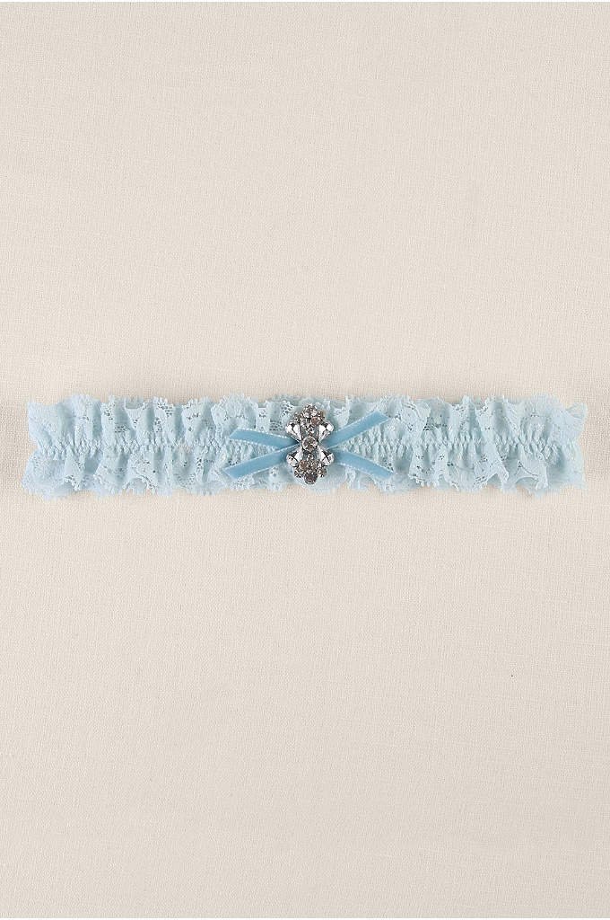 Blue Ruffled Lace Garter with Butterfly Brooch - This garter is the perfect combination of delicate