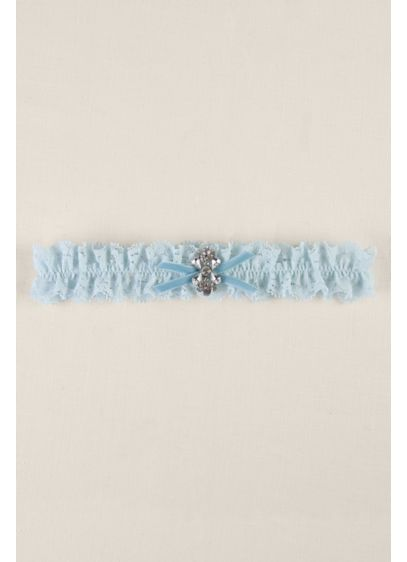 Blue Ruffled Lace Garter with Butterfly Brooch - Wedding Accessories