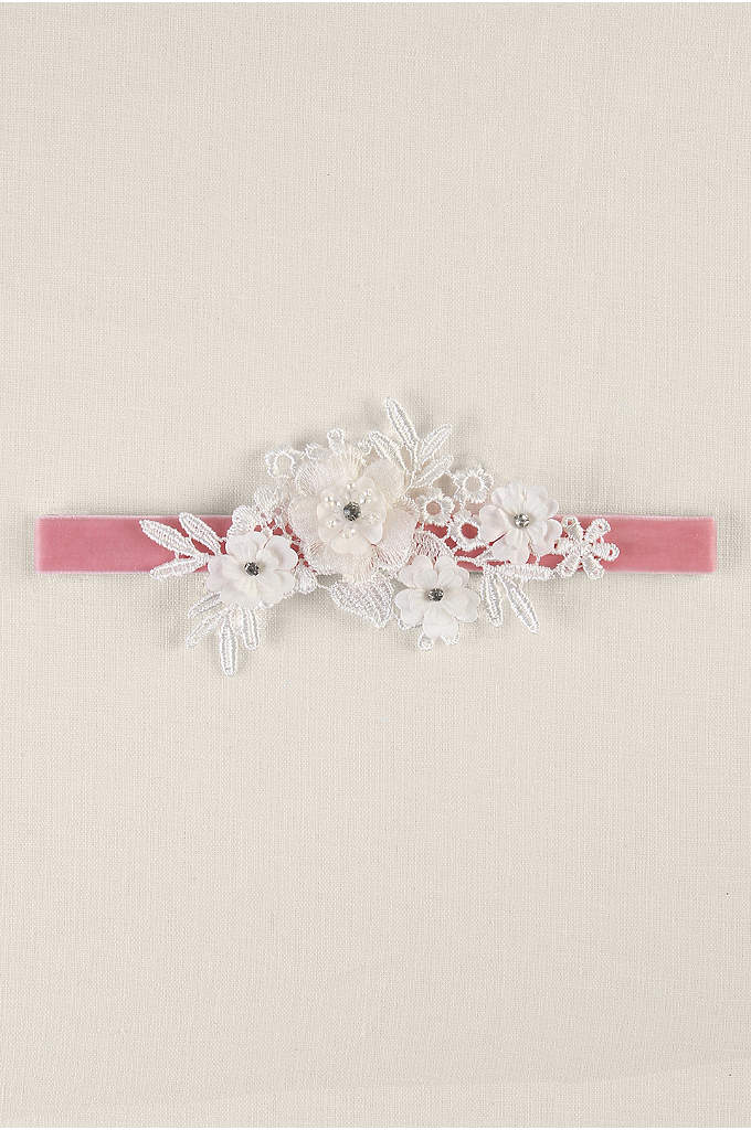 Velvet Elastic Garter with Ivory Applique - Red carpet glamour meets bridal with this unexpected