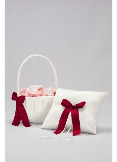 Red (DB Exclusive Single Ribbon Pillow and Basket)