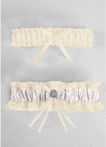 DB Exclusive Regal Ties Garter Set - Davids Bridal Exclusive satin garter set with colored