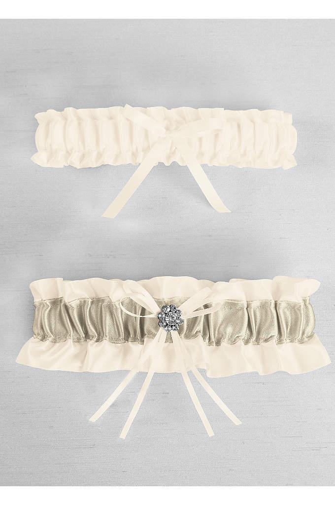 DB Exclusive Plus Size Regal Ties Garter Set - Davids Bridal Exclusive satin garter set with colored