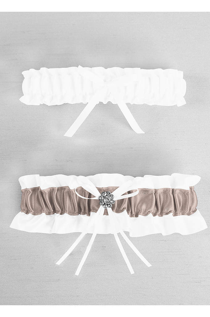 DB Exclusive Plus Size Regal Ties Garter Set - Davids Bridal Exclusive satin garter set with colored