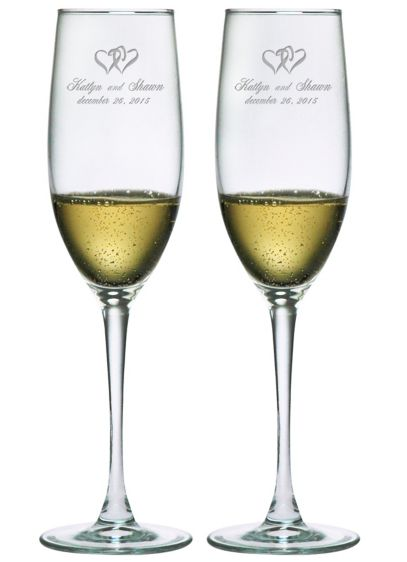 Personalized Heart Design Toasting Flutes - Wedding Gifts & Decorations