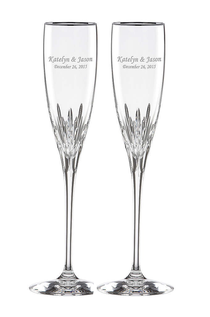 Personalized Lenox Firelight Platinum Rim Flutes - Toast to your special day with these Lenox