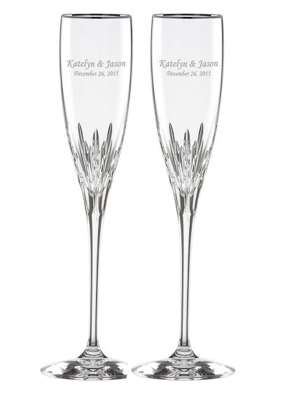 Personalized Lenox Firelight Platinum Rim Flutes - Wedding Gifts & Decorations