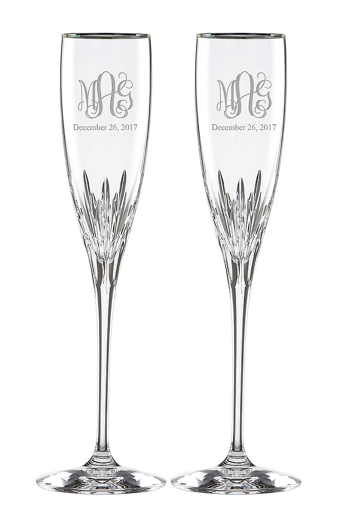 Personalized Lenox Monogram Platinum Rim Flutes - Toast your special day with these Lenox fine