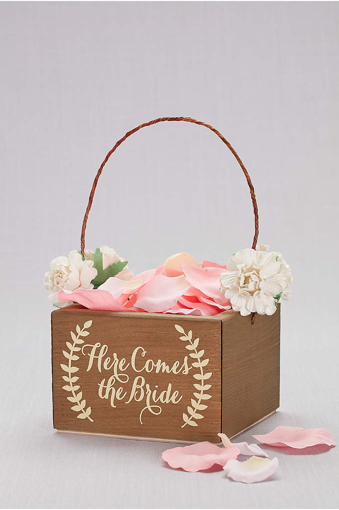 Here Comes the Bride Wooden Flower Girl Basket - The perfect place to keep the petals, this