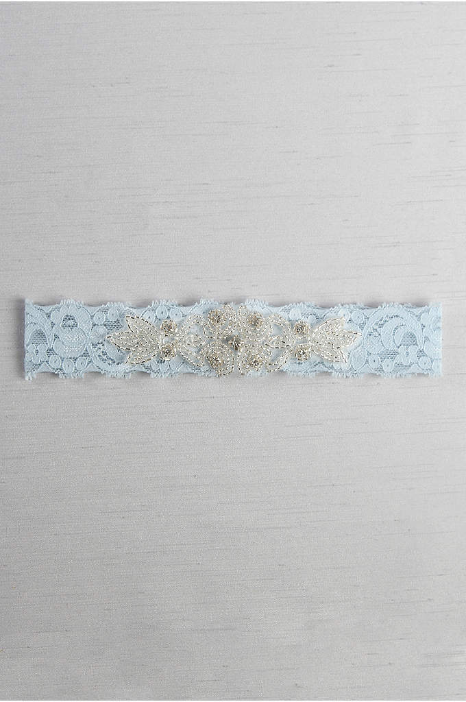 Stretch Lace Garter with Rhinestone Applique - Decorated with an elegant rhinestone and beaded applique,