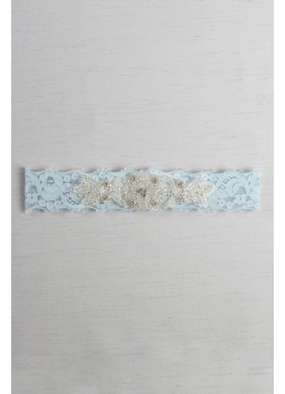 Blue (Stretch Lace Garter with Rhinestone Applique)