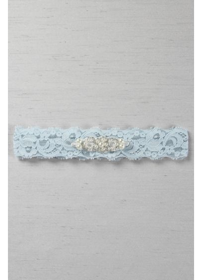 Blue (Stretch Lace Garter with Beaded Pearl Applique)