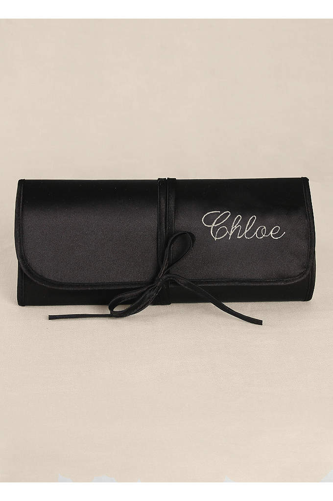 Personalized Embroidered Satin Jewelry Roll - Personalize this gorgeous satin jewelry roll with your