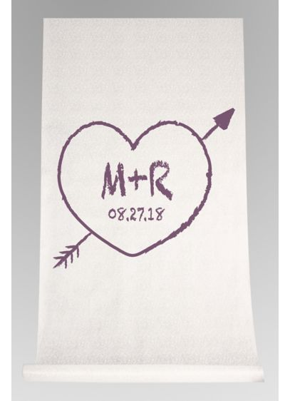 DB Exc Personalized Heart and Arrow Aisle Runner - Proudly display your initials and wedding date to