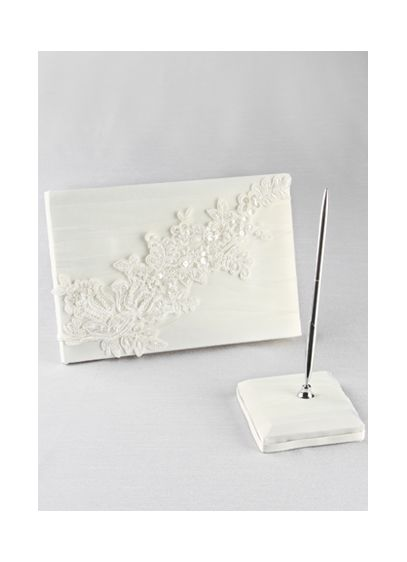 Sea of Petals Guest Book with Pen - This elegant ivory guest book and pen is