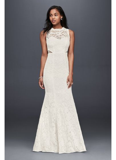 4a929a3bff144 Lace Trumpet Wedding Dress With Illusion Cutouts David S Bridal. Xscape  Wedding Gowns 7