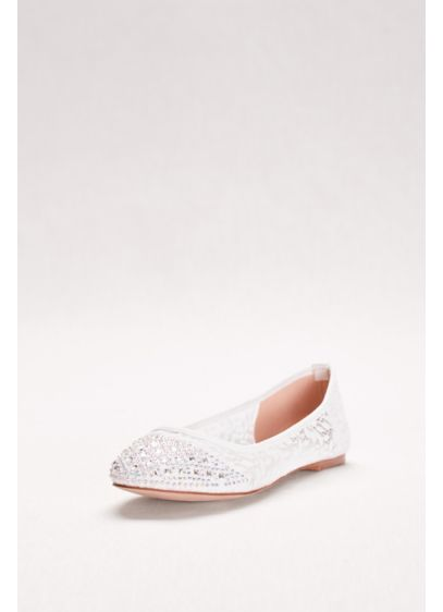 Blossom White (Crystal-Embellished Lace Ballet Flats)
