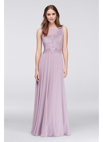 Illusion Lace And Chiffon Long Bridesmaid Dress Davids Bridal