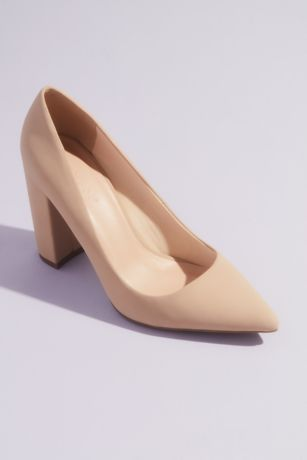 Bamboo Beige;White Pumps (Classic Pointed Toe Block Heel Pumps)