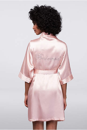 Rhinestone Bridesmaid Satin Robe