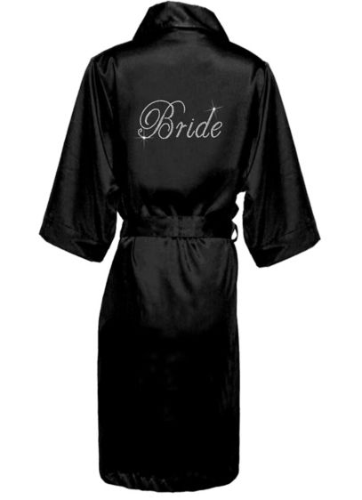 Rhinestone Bride Long Satin Robe - Wedding Gifts & Decorations