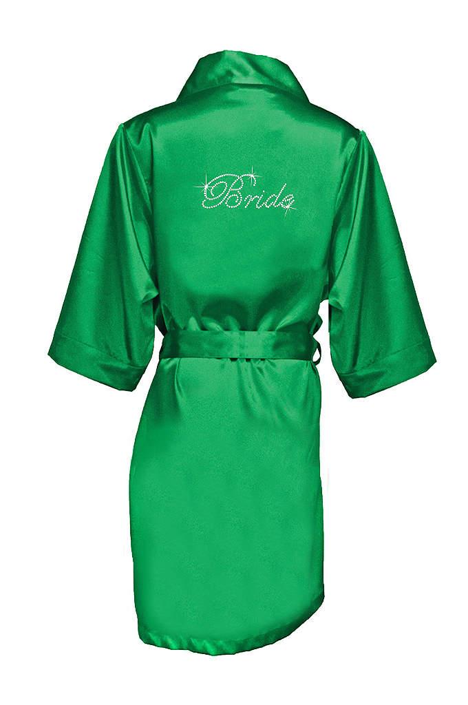 Rhinestone Bride Satin Robe - Luxurious satin robe with