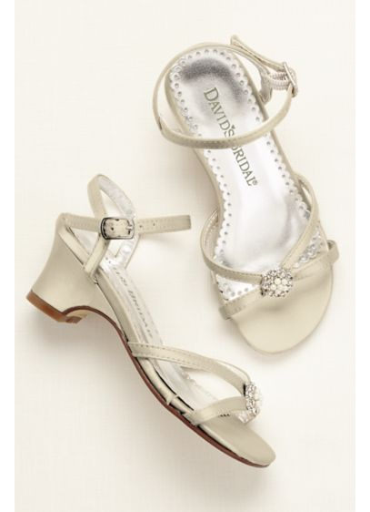 Flower Girl Dyeable Sandal with Pearl Ornament - This heeled flower girl sandal is adorned with