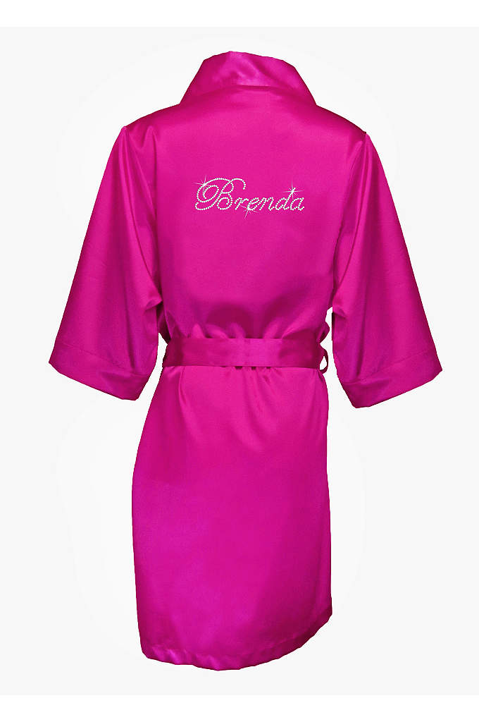 Personalized Rhinestone Bridesmaid Name Satin Robe - Show your girls how much you appreciate them