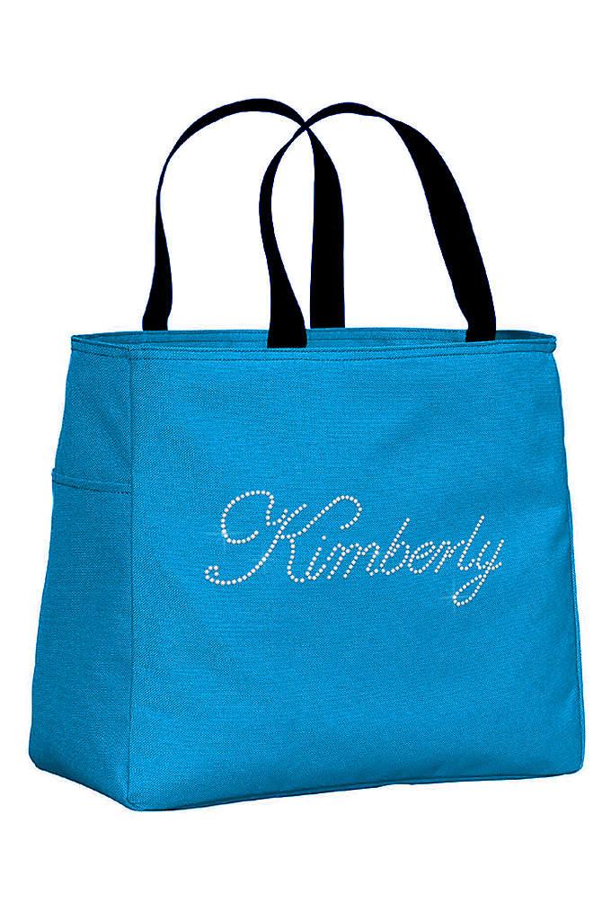 Personalized Rhinestone Script Name Tote Bag