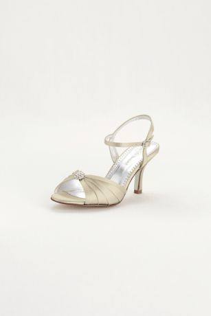 David's Bridal Ivory Sandals (Satin Dyeable Pleated Sandal with Ornament)