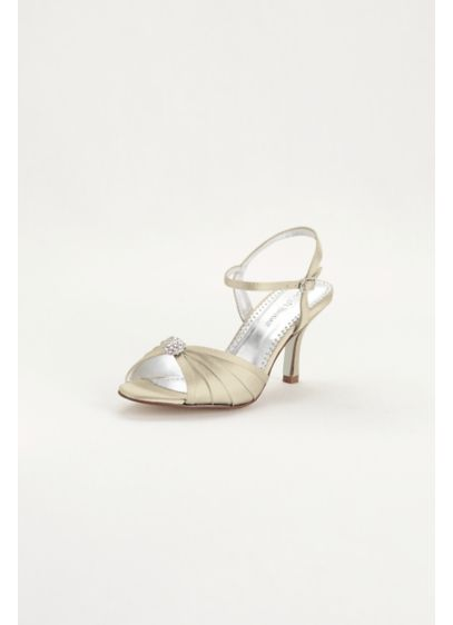 David's Bridal Ivory (Satin Dyeable Pleated Sandal with Ornament)