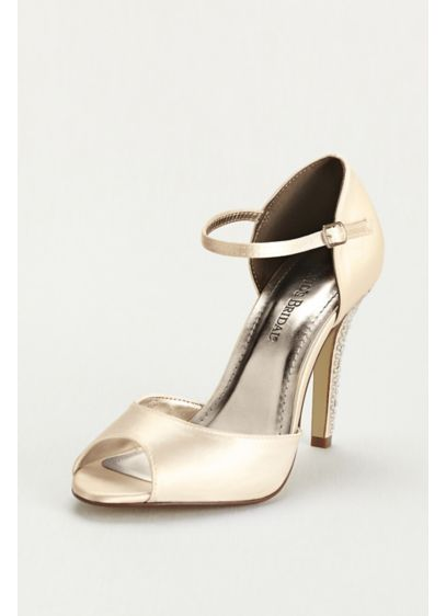 Dyeable Sandal with Crystal Encrusted Heel - This crystal heel sandal is the perfect accessory