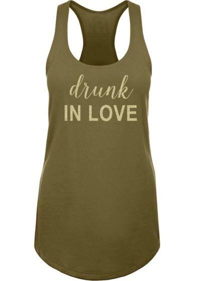 Glitter Print Drunk in Love Racerback Tank Top - Wedding Gifts & Decorations