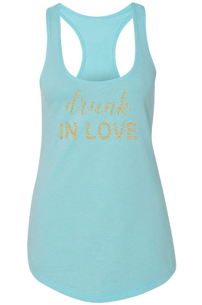 Glitter Print Drunk in Love Racerback Tank Top - Get ready for the bachelorette party of a